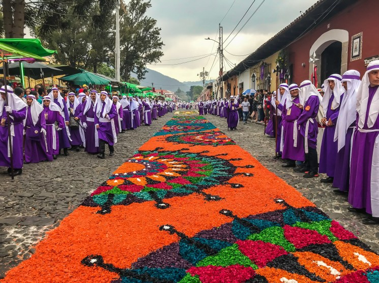 Photo of Colorful Alfombra during Holy Week in Antigua by Anna Martinez-Hume