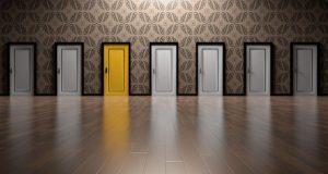 Set of doors with one yellow door