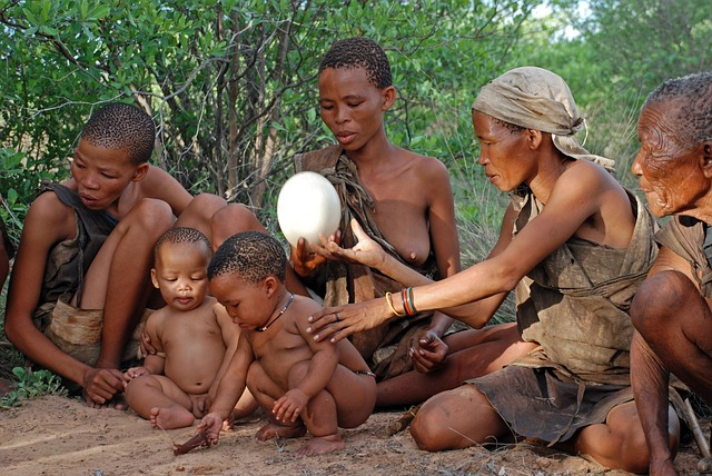 Political organization and disease. African hunter-gatherers sitting in a group holding an egg.