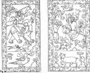 Drawings of panels from Yu Hong's marble sarcophagus