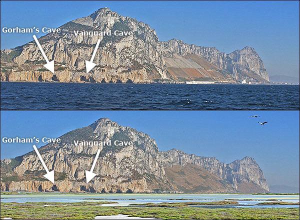 Gorham's & Vanguard Caves on Governor's Beach, Gibraltar.