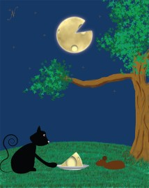 Eventually, the cat was able to get a slice of the moon for his dear mouse friend!