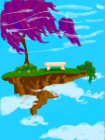 Free hand doodling. A surreal peice of land floating in the sky.