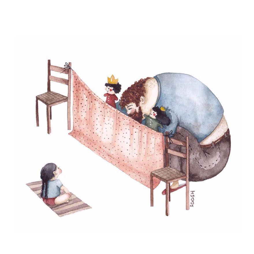 ces peintures mouvantes repr sentent l 39 amour d 39 un p re pour sa fille. Black Bedroom Furniture Sets. Home Design Ideas