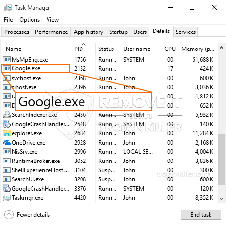 FIXED!] Google.exe trojan miner. How to Remove Google.exe