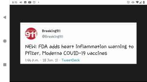 pfizer vaccine,heart inflammation,label,insert,covid-19,vaccinated