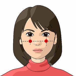四白(しはく)のツボの位置を紹介した女性の顔のイラスト