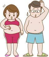 太っていることが気になる男女のイラスト