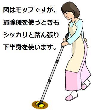 掃除機を使う時の若返りトレーニングのイメージ図