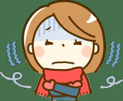 冷え性に苦しむ女性のイラスト