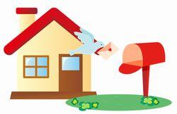 家と郵便ポストのイラスト