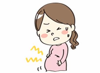 陣痛に苦しむ女性のイラスト