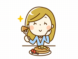 スイーツを食べる女性のイラスト