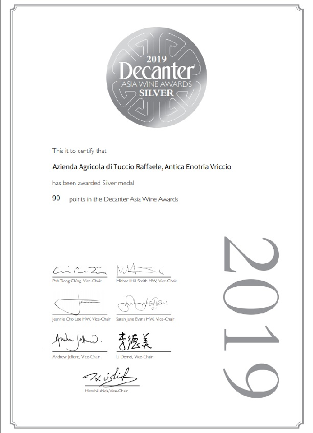 Decanter 2019 – Vriccio