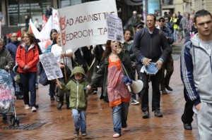 Benefit Justice campaigners in Birmingham oppose Bedroom Tax