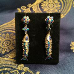 IT - Orecchini in argento vermeil e smalti, Cina , inizio del XX secolo EN - Earrings in silver and enamels, China, beginning of XX century. FR - Boucles d'oreilles en argent vermeil et emaux, Chine, début du XX siècle Photo © Mg/Antichità al Ghetto SAS