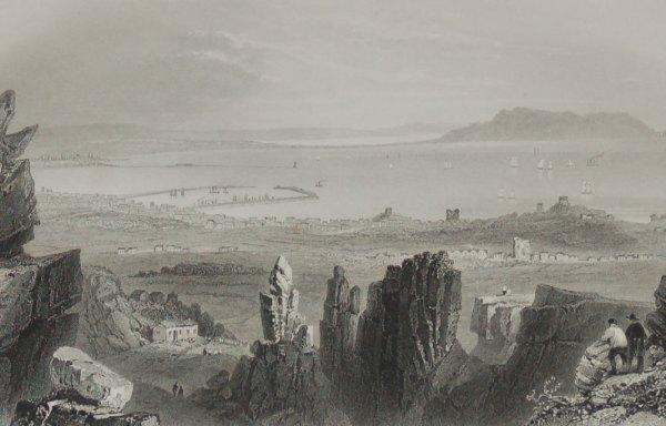 1860 Engraving Dublin Bay from Kingstown Quarries