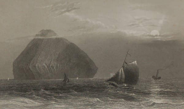 """An 1840 engraving by J. T. Whitmore after a painting by William Bartlett , entitled """"Ailsa Craig""""."""
