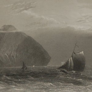 "An 1840 engraving by J. T. Whitmore after a painting by William Bartlett , entitled ""Ailsa Craig"" ."