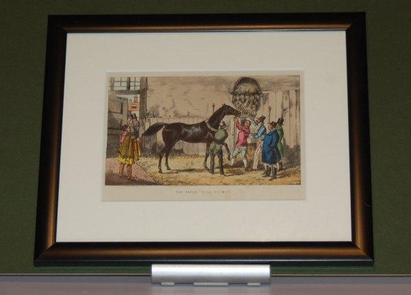 Framed, 1874 Henry Alken Print Mr Baron Vills His Wet, Framed