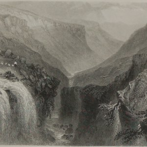1860 engraving by J C Bentley after a painting by William Bartlett , entitled Head of Glenmalure.
