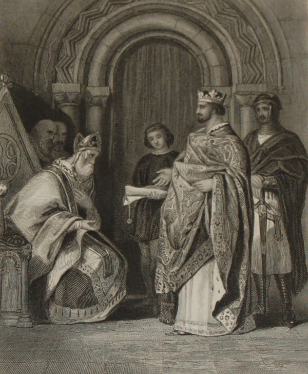 1854 steel engraving Henry 11 Presenting the Popes Bull to the Archbishop of Cashel