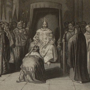 1854 Engraving Richard 11 Knighting the King of Connaught, Ulster, Thomand and Leinster.