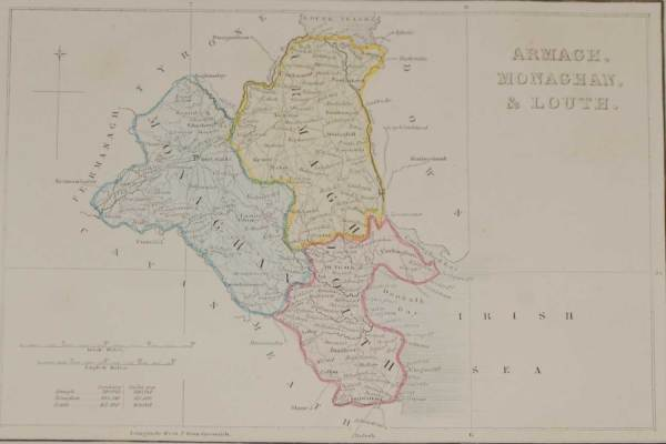 1841 Antique Map Armagh, Louth, monaghan in Ireland