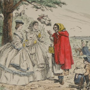 An 1898 antique hand coloured steel engraving after John Leech titled The Gypsey's Prophecy.