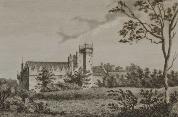 1797 antique print, a copper plate engraving of Bargy Castle County Wexford . The castle is an old Norman fortress near Wexford Town.