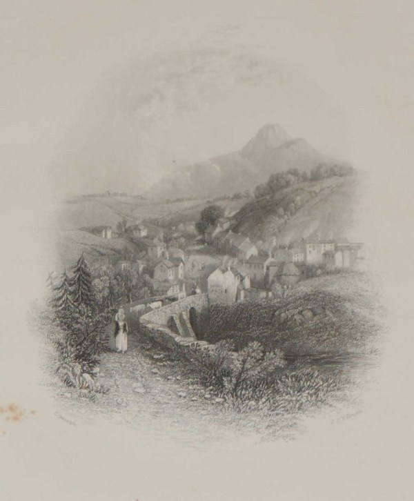 An antique print a steel engraving of Enniskerry in County Wicklow, Ireland. The print dates from 1837 and was published by Longman and Co in London.