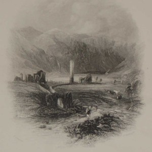 An antique steel engraving of Glendalough, Wicklow. The print dates from 1871 and was published by Virtue and Co in London.