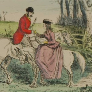 An 1898 antique hand coloured steel engraving after John Leech titled Who would have thought of seeing you