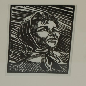 Harry Kernoff Woodcut portrait of a lady 1948