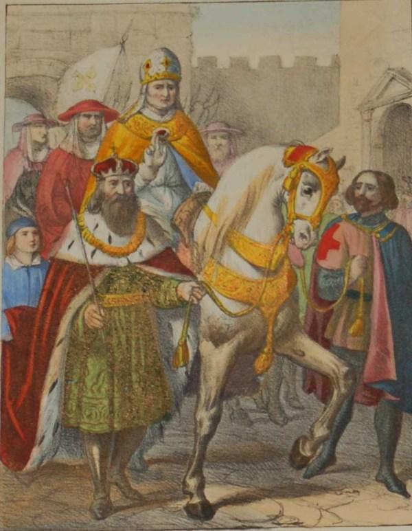 170 year old antique print with the colours exceptionally strong for the age.Urbano V Abbandonata Avigone Ristari Lisce La Sua Sede in Roma