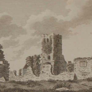 1797 Antique Print of Clonshanville Abbey in County Roscommon, Ireland. The Abbey is believed to have been founded in the mid 15th century.