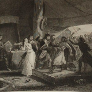 1854 steel engraving of the murder of Shane O Neill. O'Neill was an Irish chieftain who is said to have been murdered by his rivals the MacDonnells.