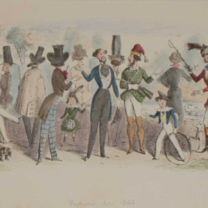 A 1866 antique print an etching after John Leech, hand coloured titled Fashion for 1844