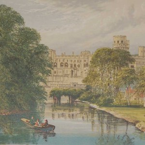 Antique colour print from 1880 of Warwick Castle. Warwick Castle is a medieval castle , originally built by William the Conqueror during 1068.