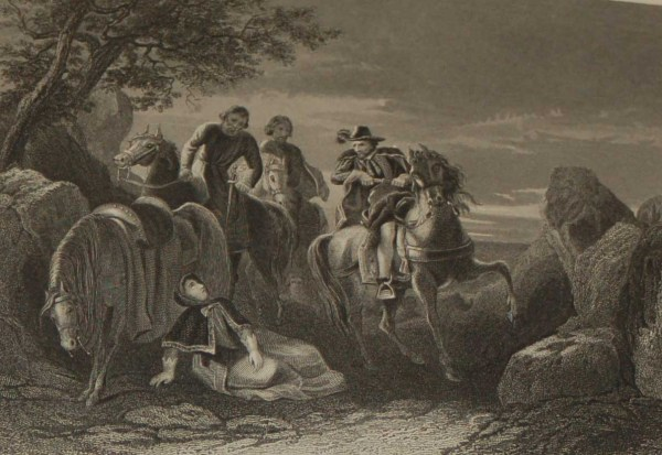 Antique steel engraving flight of the earl of tyrone