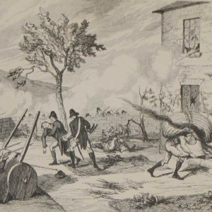 1864 antique print an engraving Attack on Captains Chamneys House after George Cruikshank.