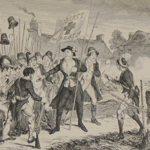 1864 Antique print an engraving Father Murphy and the Heretic Bullets after George Cruikshank. Murphy was an Irish priest and one of the leaders of the Irish Rebellion of 1798 in Wexford .