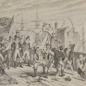 1864 Antique print an engraving Rebels Executing their Prisoners on the Bridge at Wexford after George Cruikshank.