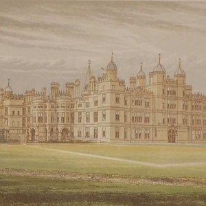 antique colour print a chromolithograph from 1880 of Burghley House in Cambridgeshire.
