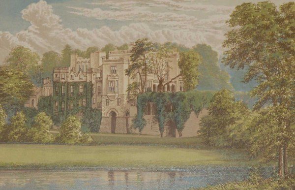 An antique colour print a chromolithograph from 1880 of Guy's Cliffe in Warwickshire.