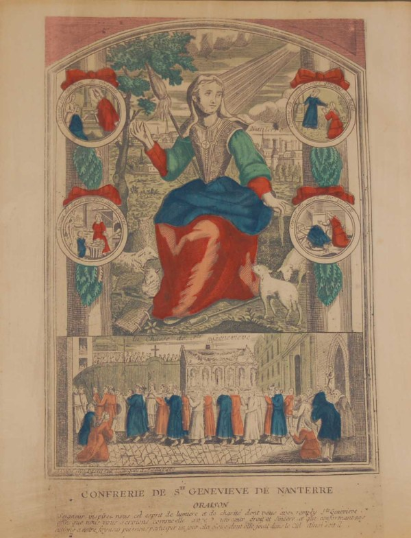 A vintage colour intaglio print done by Mourlot in 1944 after the original print from circa 1725 titled Confrerie de Ste Genevieve de Nanterre .