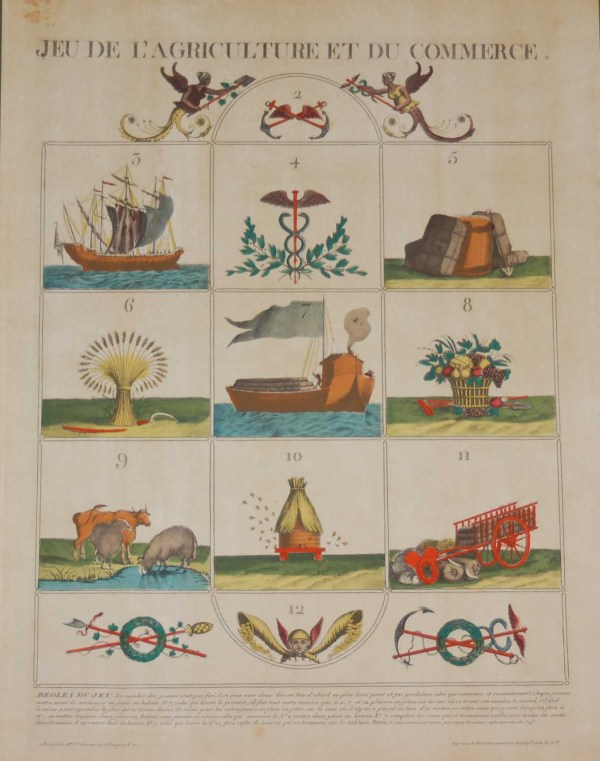 A vintage print, colour intaglio, done by Mourlot in 1944 after the original print from circa 1800 titled Jeu De l'Agriculture et du Commerce.