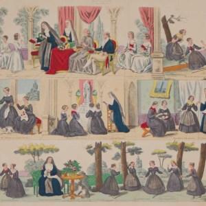 A vintage art print, colour intaglio, printed by Mourlot in 1944 titled Le Pensionnat des Dames religíeuses .