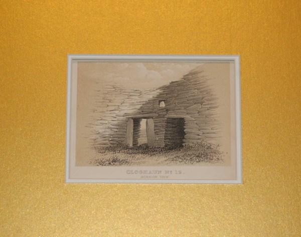 antique 1858 print originally published in the Archeology Journal in 1858 , showing the interior of a Cloghaun structure in Kerry.