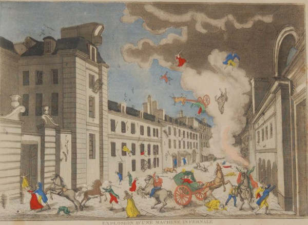 A vintage Intaglio print done by Mourlot in 1944 after the original print from circa 1800 titled Explosion D'une Machine Infernale